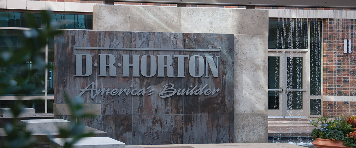 D.R. Horton logo on fountain wall