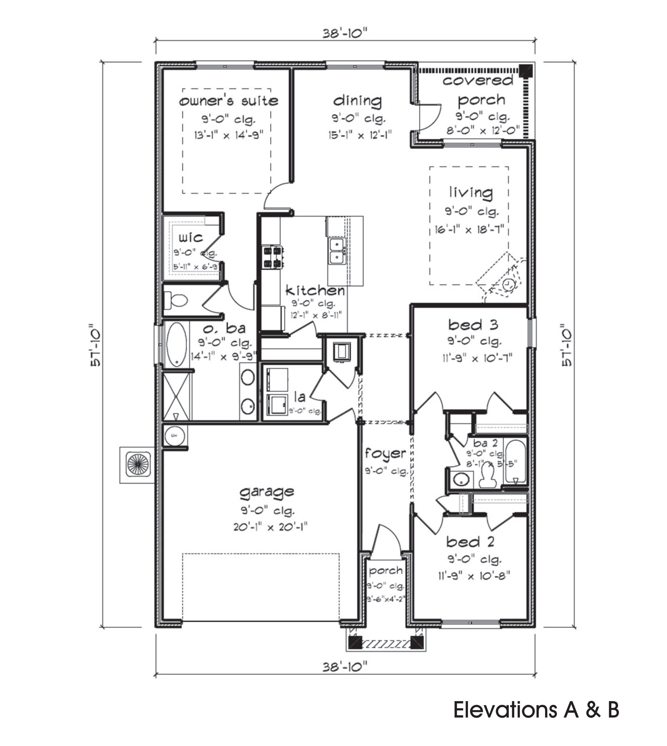 Lamar floor plan features 1,704 square feet with 3 bedrooms and 3 bathrooms