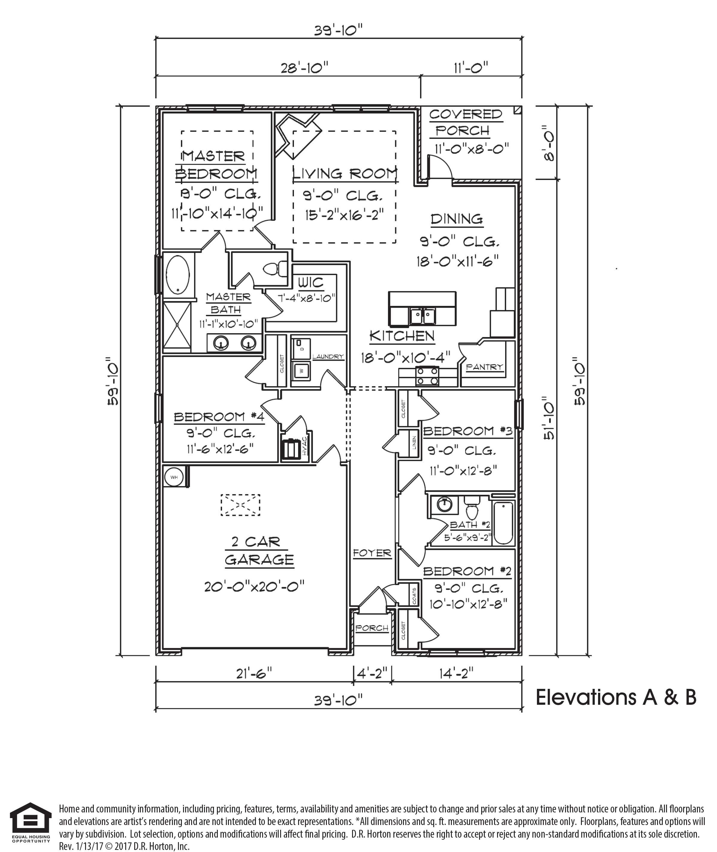 Rhett floor plan features 1,863 square feet with 4 bedrooms and 2 bathrooms