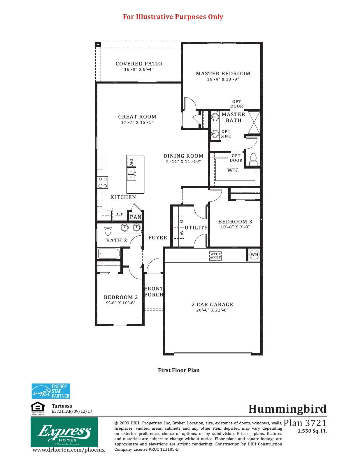 D.R. Horton Tartesso Express Hummingbird Floor Plan