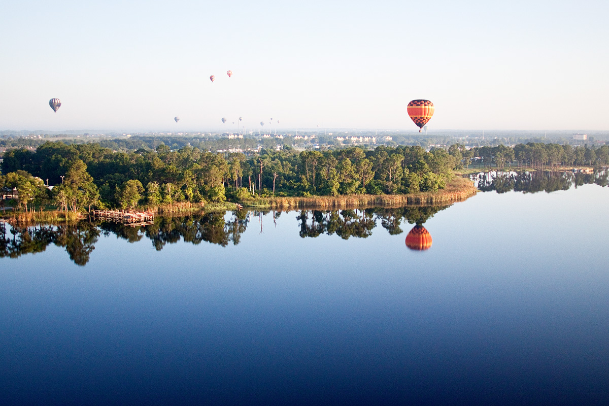 Hot Air Balloon over Lake near new D.R. Horton homes in Davenport, FL
